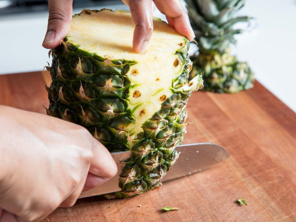 chopping pineapple for eye health