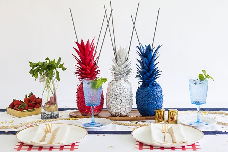 Pineapple Fourth of July Sparklers Centerpiece