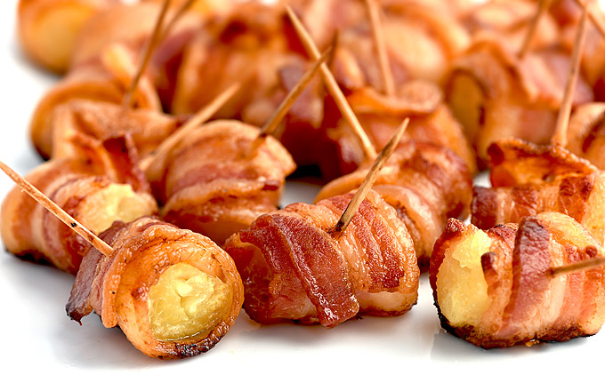 bacon wrapped pineapple bites for valentine's day