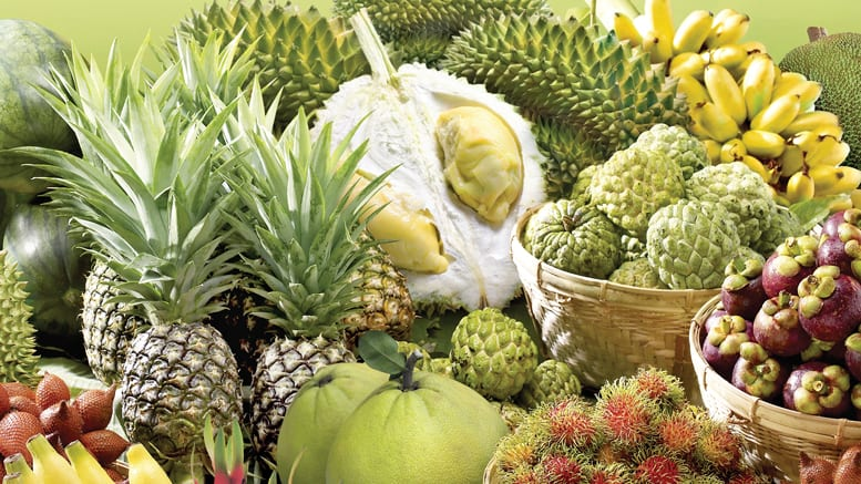 tropical fruit pineapple displays